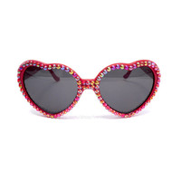 FLAME Red Rainbow Crystal Encrusted Sunglasses - Sparkly Aurora Borealis Bling Glitz Festival Eyewear - Rhinestone Heart Shaped Sunnies