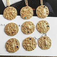 Constellations Gold Hammered Pendant Necklace
