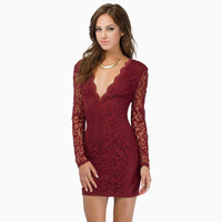 Sheer Long Sleeve with Deep V-Neck Floral Lace Bodycon Mini Dress