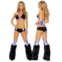 Black and Purple Fluffy Leg Warmers