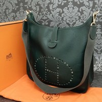 One-nice™ Rise-on HERMES Evelyne MM Fjord Leather GREEN Cross Body Bag Shoulder Bag #142