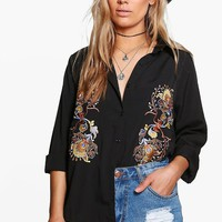 Plus Louise Embroidered Shirt   Boohoo