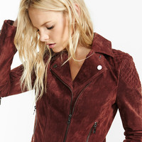 Oxblood Genuine Suede Quilted Moto Jacket