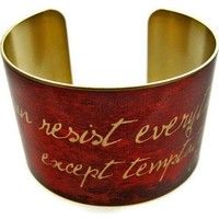 """Oscar Wilde Vintage Style Brass Cuff Bracelet: """"I can resist everything except temptation"""" - Whimsical & Unique Gift Ideas for the Coolest Gift Givers"""