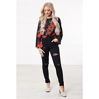 Still Into You Knot Front Floral Top (Floral)