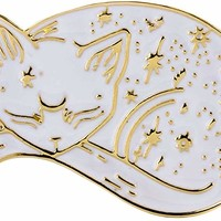 10K Gold Color Cute Black and White Enamel Sleepy Lazy cat Pin and Brooch