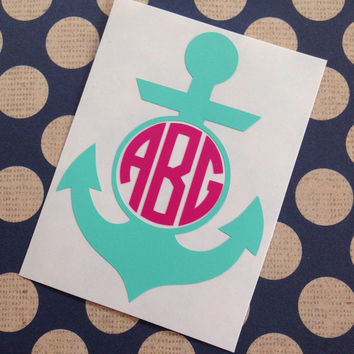 Anchor Monogram | Traditional Font Anchor Monogram | Fancy Font Anchor Monogram | Round Font Anchor Monogram | Preppy Anchor Monogram |