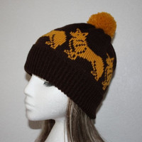 Brown Beanie Hat with Golden Corgi Dogs and Pompom