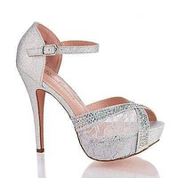 Vice98 Lace By Blossom, Rhinestone Studded Peep Toe Platform Ankle Strap Stiletto Heels
