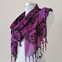 Men's and Women's Skull Scarf Purple and Black. Halloween accessories .Soft Cotton Purple Scarf. Skull Scarves.Unisex Scarf.