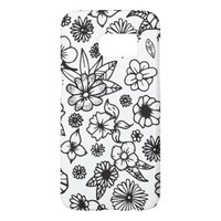 White and Black Hand Drawn Flowers and Foliage Samsung Galaxy S7 Case