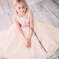 Floral Embroidered Taffeta Dress in Ivory or Pink (Girls 2T to Size 12)