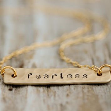Graduation / Gift for Graduate / Fearless / Gold Plated Chain / Inspirational Gift / Gift for Her / I Am Fearless