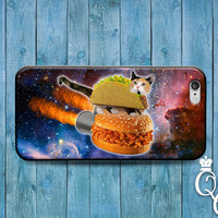 iPhone 4 4s 5 5s 5c 6 6s plus iPod Touch 4th 5th 6th Generation Cover Funny Cat Riding Taco Sloppy Joe Food Cute Animal Lover Fun Cats Case