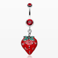Vibrant Strawberry Dangle Belly Ring