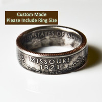 Custom Made / Sizes 5-12 / Missouri Coin Ring (Please include size in purchase notes)