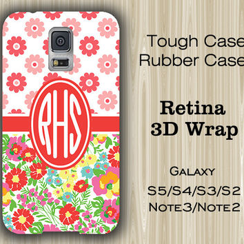 Teen Red Flower Monogram Samsung Galaxy S5/S4/S3/Note 3/Note 2 Case