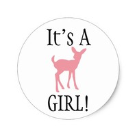 It's A Girl! Woodland Baby Shower Pink Deer Classic Round Sticker