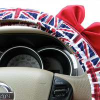 The Original Union Jack Flag Steering Wheel Cover with Matching Bright Red Bow