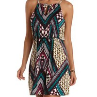 Black Combo Tribal Print Halter Dress by Charlotte Russe