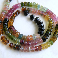 Tourmaline Gemstone Rondelle Faceted Pink Yellow Green Multi 4mm Full strand 140 beads