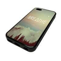 Apple iPhone 5C 5 C Case Cover Breathe Hipster Triangle Vintage Woods DESIGN BLACK RUBBER SILICONE Teen Gift Vintage Hipster Fashion Design Art Print Cell Phone Accessories
