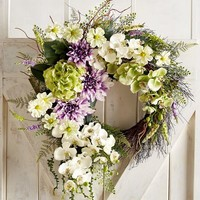 "Oversized Faux Dahlia & Orchid 26"" Wreath"
