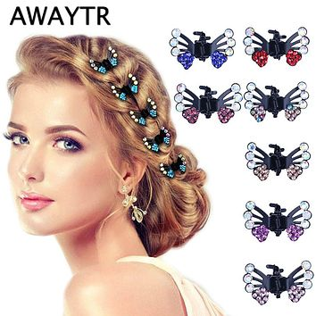 AWAYTR 6 Pcs/Lot Hair Clips for Women Girls Hair Accessories Kids Crystal Butterfly Pins Hair Claws