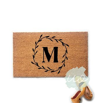 Monogram Wreath Doormat