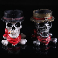 Originality West CowBoy CrossBones Resin Crafts Cigarette Ashtray for Car Home = 1929726084