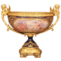 19th Century French Louis XVI St. Sèvres Hand Painted Porcelain Centerpiece