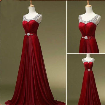 Burgundy Beaded Prom Dress A Line Celebrity Prom Party Gowns pst0120