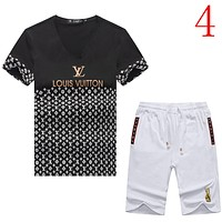 Louis Vuitton LV  Casual Men Short Sleeve Shirt Top Tee Shorts Set Two-Piece