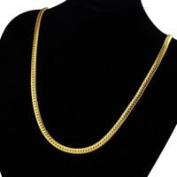 """Yan & Lei Hot Sale 24K Gold Plated Necklace Men Jewelry 6 MM Wide 18"""" Snake Chain Necklace"""