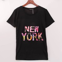 2016 Rock Fashion T Shirt Women NEW YORK Printed Printing T-shirt Women Summer Band New Top Tee Shirt Femme Women Clothes