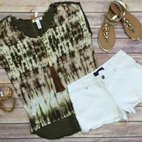 Nothing Compares Tie Dye Top: Olive