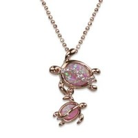 """14k Rose Gold Plated Sterling Silver Mom and Baby Turtle Synthetic Pink Opal Pendant and 18"""" Box Chain"""