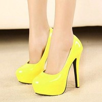 Sexy Womens Platform Pumps Stiletto High Heels Evening Party Shoes White/Yellow