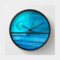 Abstract Moon Wall Clock in aqua, turquoise and black
