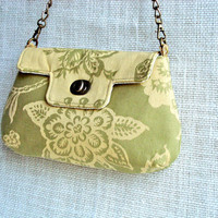Green Purse with Floral Pattern - Small Chic Handbag - Valentine Gift