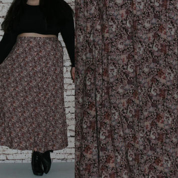 90s Plus Size High Wasit Skirt Aline Rayon Floral Print Purple Lavender Grunge Boho Festival Hipster Maxi Midi 80s 70s 3X 22 24  Witchy