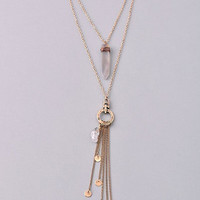 Three Strand Coins, Stones and Tassel Layered Necklace - Gold or Silver