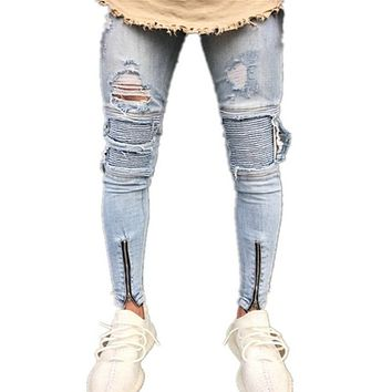 NIBESSER 2018 Skinny Jeans Men Sexy Ripped Hole Stretch Denim Trousers Male Autumn Straight Streetwear Pencil Jeans Plus Size
