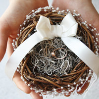 Ring bearer pillow  Rustic nest ring pillow Rustic ring box Rustic wedding ring bearer nest pillow Woodland ring holder PUCK