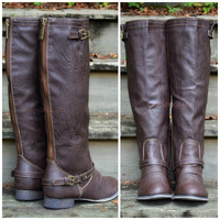 Montana Skye Brown Contrast Zipper Boots