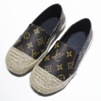 New fashion flat women print shoes casual shoes straw shoes Black