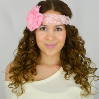 Flower Lace Headband Pink headband women's hair band wedding headband bridesmaids gifts baby Pink flower headband boho headband turban girly