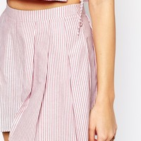 ASOS PETITE Co-ord Culotte Short In Candy Stripe