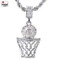 "Jewelry Kay style  Men's 14K Gold Plated Basketball Hoop Pendant 24"" Rope Chain Necklace HC 1109 S"