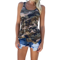 New 2016 Summer Shirt Women tshirts Sexy Backless Camouflage Crochet Halter Crop  blusas Fitness tees Vest Shirts W1
